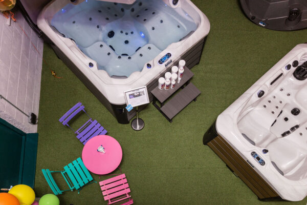 Top down view of hot tubs