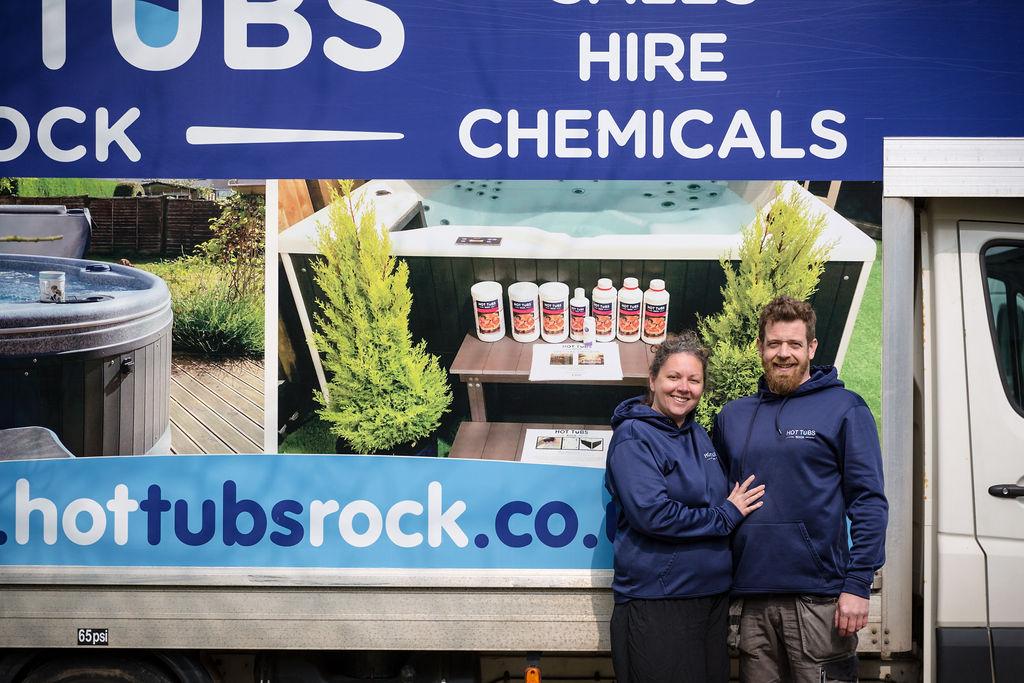 Joe and Angharad stood in front of lulu luton van